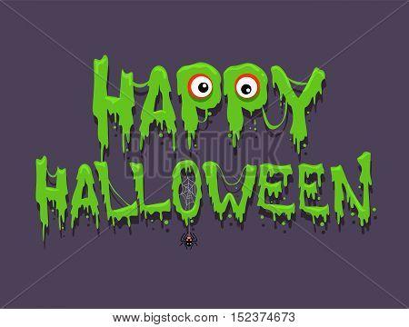 Vector Illustration of Happy Halloween Message Greetings