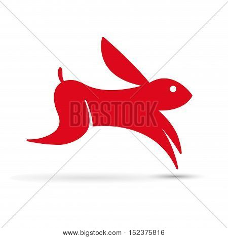 Vector sign abstract hare illustration isolated in white