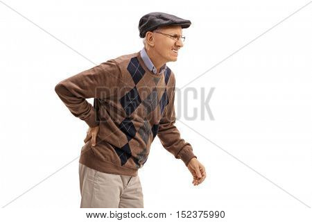 Elderly man experiencing back pain isolated on white background