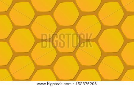 Hand-drawn honeycomb background vector illustration. Seamless pattern honeycomb hexagons on orange background.
