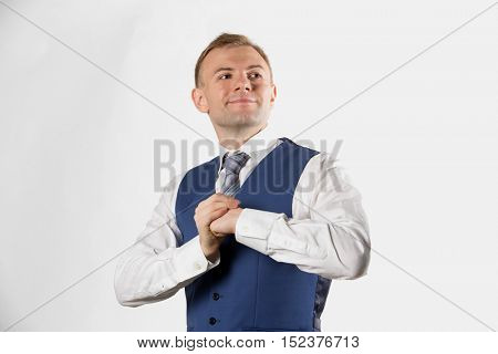 Businessman posing showing that he is a fighter