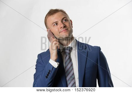 Businessman making call on cellphone