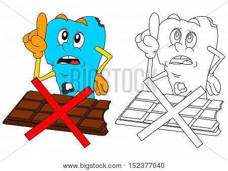 Sad sick tooth with chocolate and slashed warning as coloring books for small children - vector