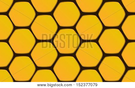 Hand-drawn honeycomb background vector illustration. Seamless pattern honeycomb hexagons on black background.