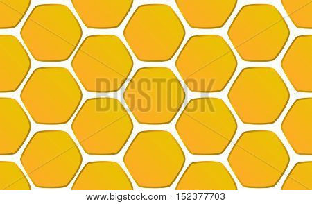 Hand-drawn honeycomb background vector illustration. Seamless pattern honeycomb hexagons on white background. Yellow honeycomb hand-drawn image for backdrop