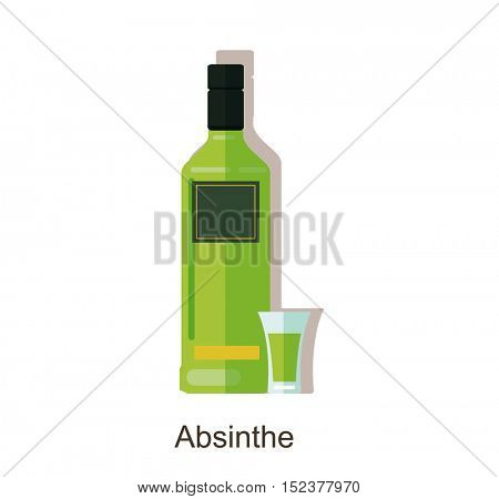 Vector icon absinthe bottle. Alcohol drink absinthe â?? vector bottle and glass. Isolated on white background.