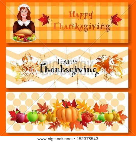 Happy Thanksgiving day. Three Thanksgiving banners with a girl, turkey, pumpkin, autumn leaves and apples