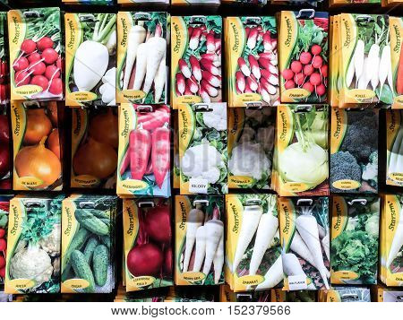 Bucharest Romania 12 January 2016: Packets with vegetables seeds are seen on a shelve in a supermarket in Bucharest.