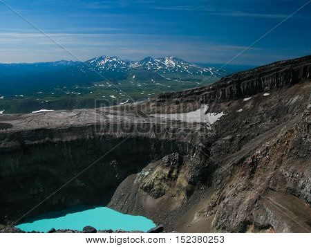 Crater acid lake in Gorely volcano Kamchatka peninsula Russia