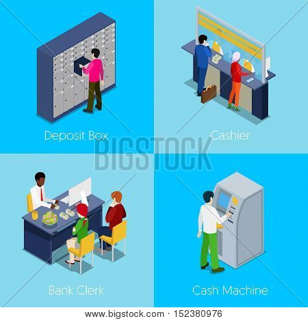 Isometric Bank Services Concept. Deposit Box, Cashier, Bank Clerk, Cash Machine. Vector 3d flat illustration