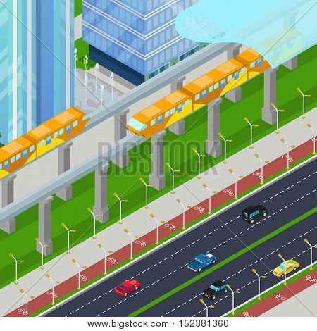 Isometric Monorail Railway Train in Modern City with Skyscrapers. Vector 3d flat illustration