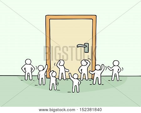 Cartoon working little people with big door. Doodle cute miniature scene of workers about opportunity. Hand drawn cartoon vector illustration for business design.