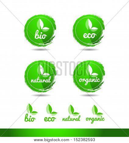 Bio eco natural organic green grunge badge vector logo icon circle design template identity