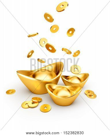Gold coins dropping on gold sycee ( yuanbao ) isolated on white background Chinese New Year - 3D Rendering
