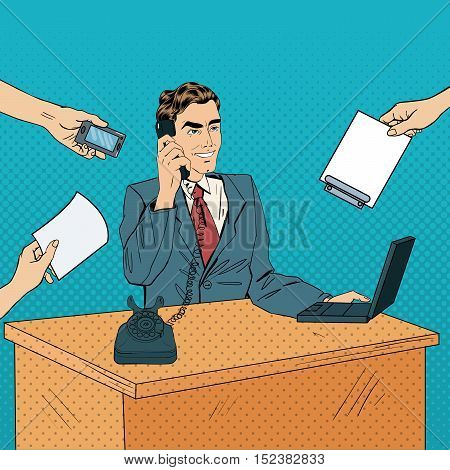Pop Art Multi Tasking Busy Businessman with Laptop at Office Work. Vector illustration