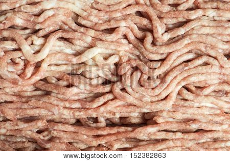 Red background from meat mincemeat for preparation of meal