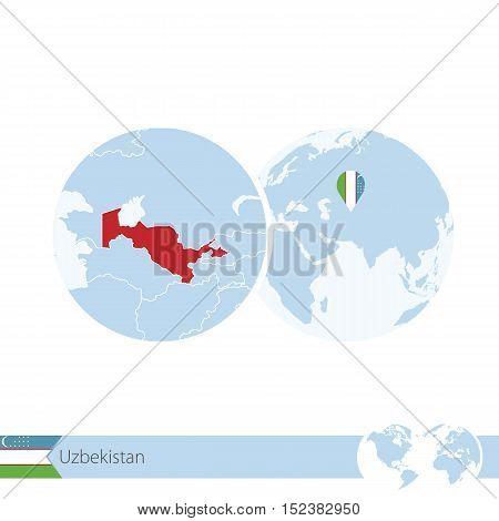 Uzbekistan On World Globe With Flag And Regional Map Of Uzbekistan.
