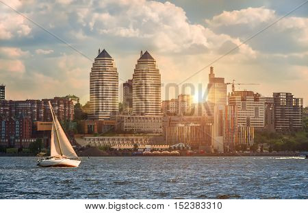 Quay of the big city at eventide the river Dnepr Dnepropetrovsk