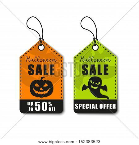 Halloween vector set. Halloween sale, discount and offer tags, stickers