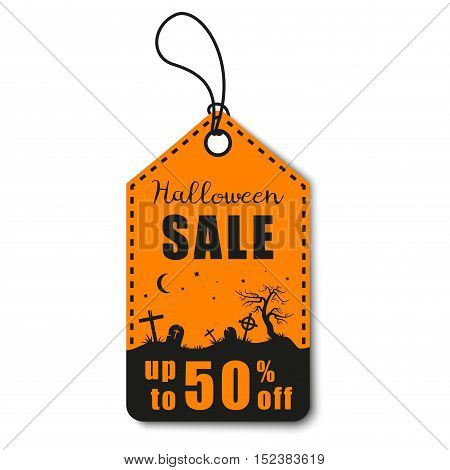 Halloween vector illustration. Halloween sale, discount and offer tag, sticker