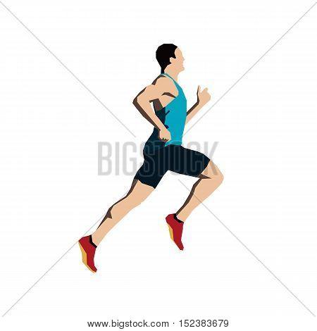 Running man flat vector illustration. Run, athlete