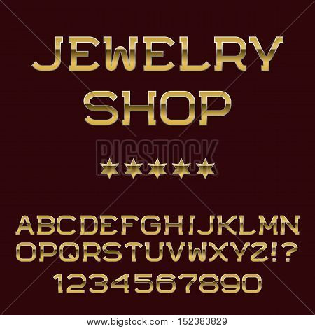 Gold letters and numbers. Deluxe presentable font. Isolated english alphabet with text Jewelry Shop.