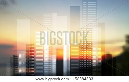 Urban modern city panorama on blurred landscape. Vector skyline cityscape design