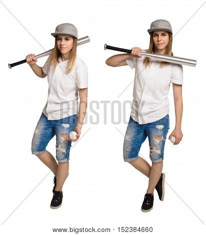 Young athletic woman in a baseball cap with a baseball bat. Cool girl in tattered shorts and cap with a bat. Set images. Isolated on white.