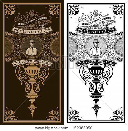 Vintage card. Baroque ornaments and gentleman