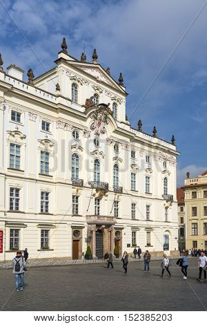 PRAGUE, OCTOBER 15: Archbishop's Palace at the Castle Square on October 15, 2016 in Prague, Czech Republic. It is famous building at the main entrance in The Prague Castle.