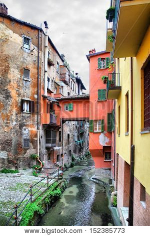View of canal in the old town of Bologna, Italy