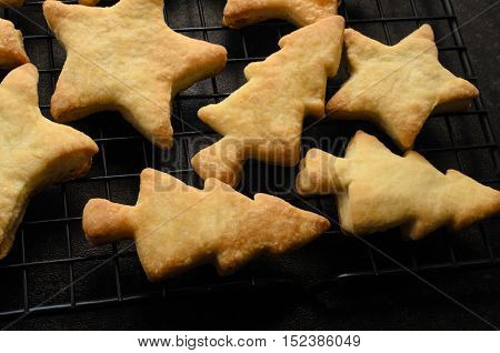 Christmas Shaped Home Made Biscuits Cooling On Rack