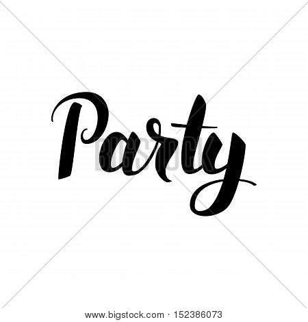Party Lettering. Vector Illustration of Ink Brush Calligraphy Isolated over White Background. Hand Drawn Cursive Text.