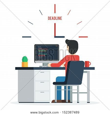 Deadline Concept of overworked man sitting infront of his table working on the computer having a problem reaching the deadline of his project. Trendy vector illustration concept in flat style design