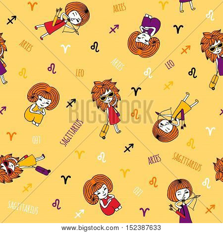 Seamless pattern with cute girls. Zodiac signs Aries, Leo and Sagittarius. The element of fire. Cute characters hand-drawn on a yellow background. Funny horoscope.