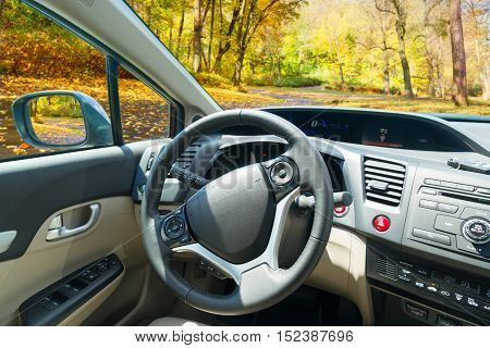 car windscreen with fall road, view inside out