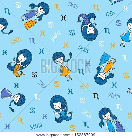 Seamless pattern with cute girls. Zodiac signs cancer, Scorpio and Pisces. The element of water. Cute characters hand-drawn on a blue background. Funny horoscope.