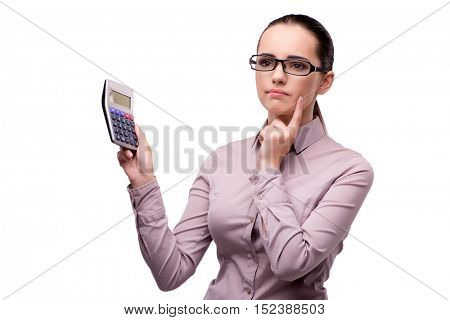 Young accountant with calculator isolated on white