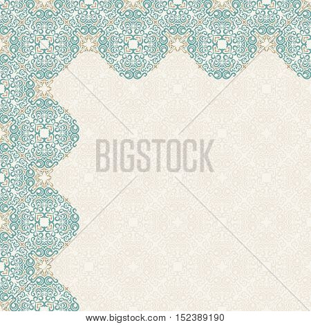 Calligraphic islam design elements. Vintage eastern corners. Lines oriental style
