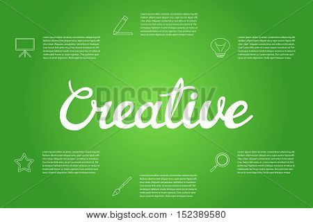 Vector illustration design template infographic with hand lettering word Creative and outline icons.