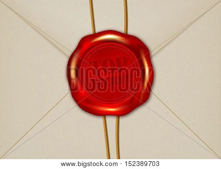 Detail of paper envelope with TOP SECRET wax seal - vector illustration