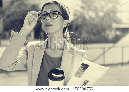 Businesswoman Vision Strategy the Way Forward Concept