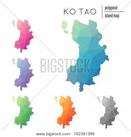 Set Of Vector Polygonal Ko Tao Maps Filled With Bright Gradient Of Low Poly Art. Multicolored Island