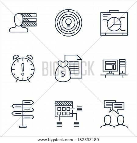 Set Of Project Management Icons On Board, Report And Schedule Topics. Editable Vector Illustration.