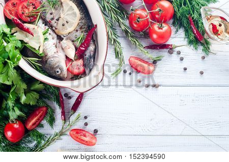 Raw Fish Cooking And Ingredients.