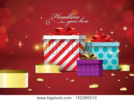 Vector of Christmas present and background