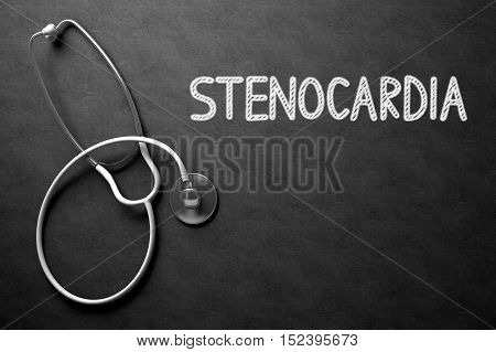 Medical Concept: Stenocardia -  Black Chalkboard with Hand Drawn Text and White Stethoscope. Top View. Medical Concept: Stenocardia Handwritten on Black Chalkboard. 3D Rendering.