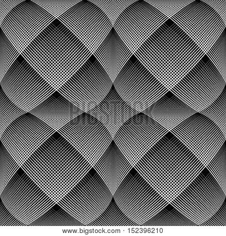 Seamless op art pattern. 3D illusion. Vector illustration.