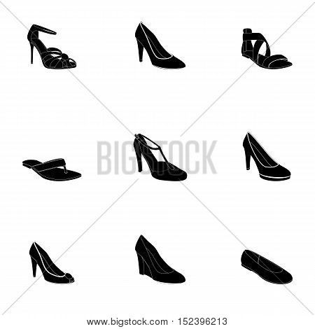 Woman's footwear, outline. Names: ballerina, flip-flop, heel-strap sandals, peep toes, plateau pumps, pumps, sandal, T-strap shoe, wedge heel shoe.
