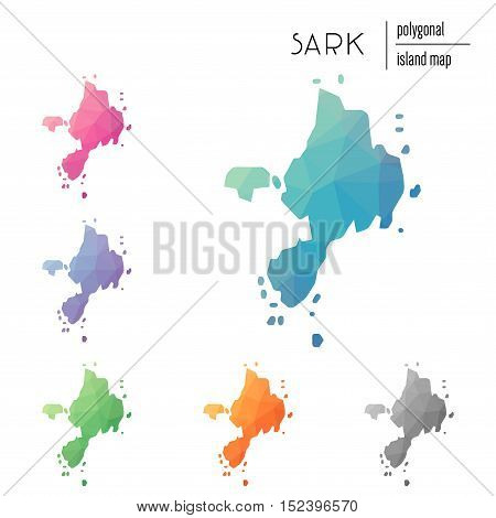 Set Of Vector Polygonal Sark Maps Filled With Bright Gradient Of Low Poly Art. Multicolored Island O